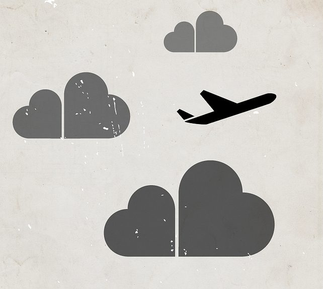 An airplane flying through cartoon clouds, Featured image for best place to outsource software development