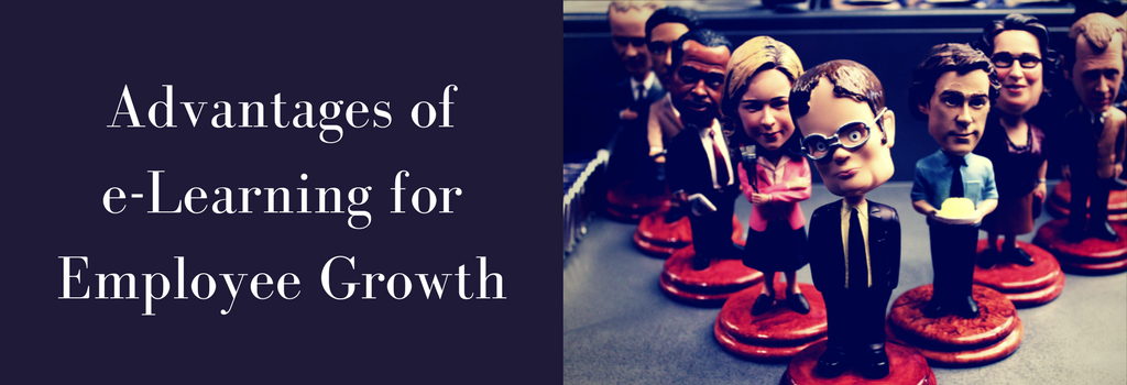 Office bobble heads and blog banner for benefits of e-learning employee talent development and training
