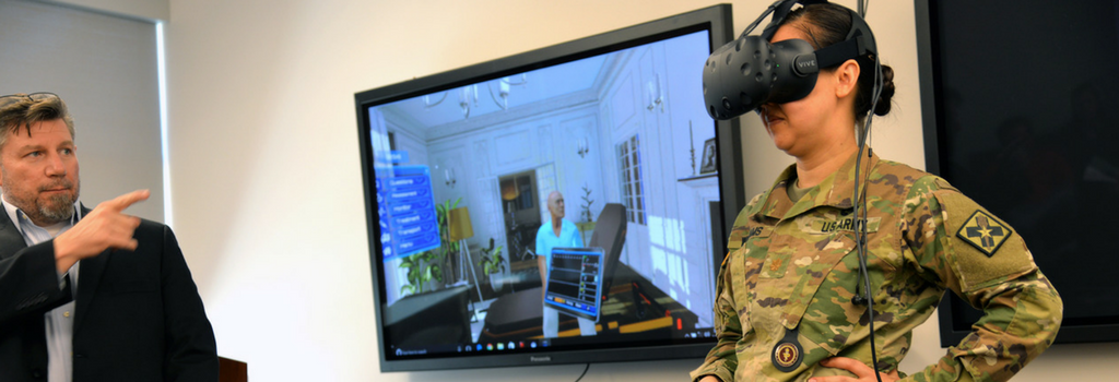 Using virtual reality in healthcare setting with army personnel