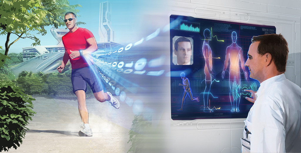 Wearable technology and health care, doctor managing patient vitals