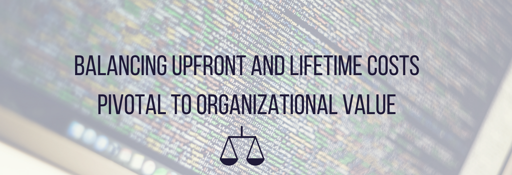 code with text and icon balancing upfront and lifetime costs pivotal to organizational value