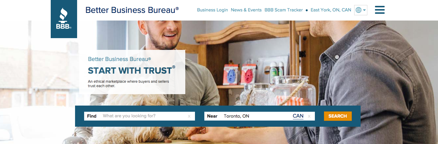 Better Business Bureau Homepage Sample
