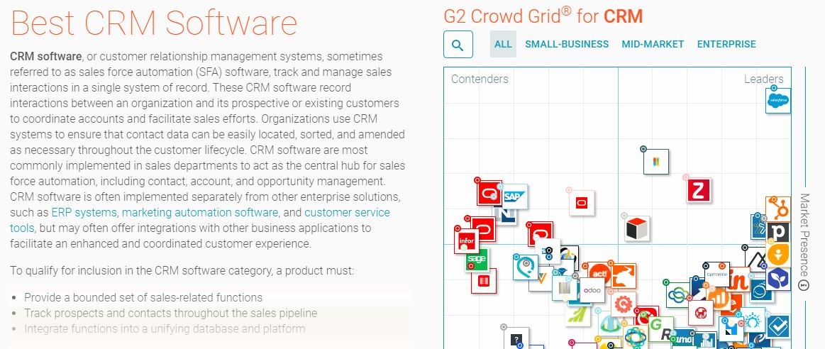 Screen sample of G2 software and services review site for CRM applications