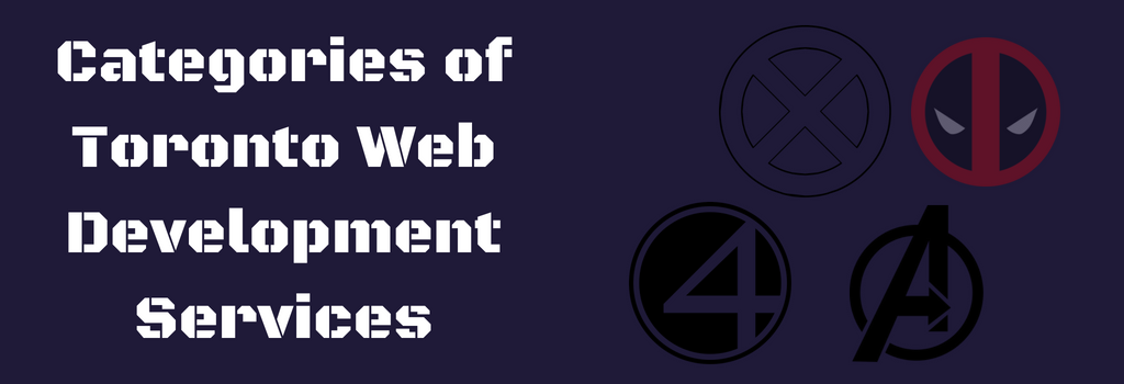 Types of web development services in toronto featuring various comic book hero group logos