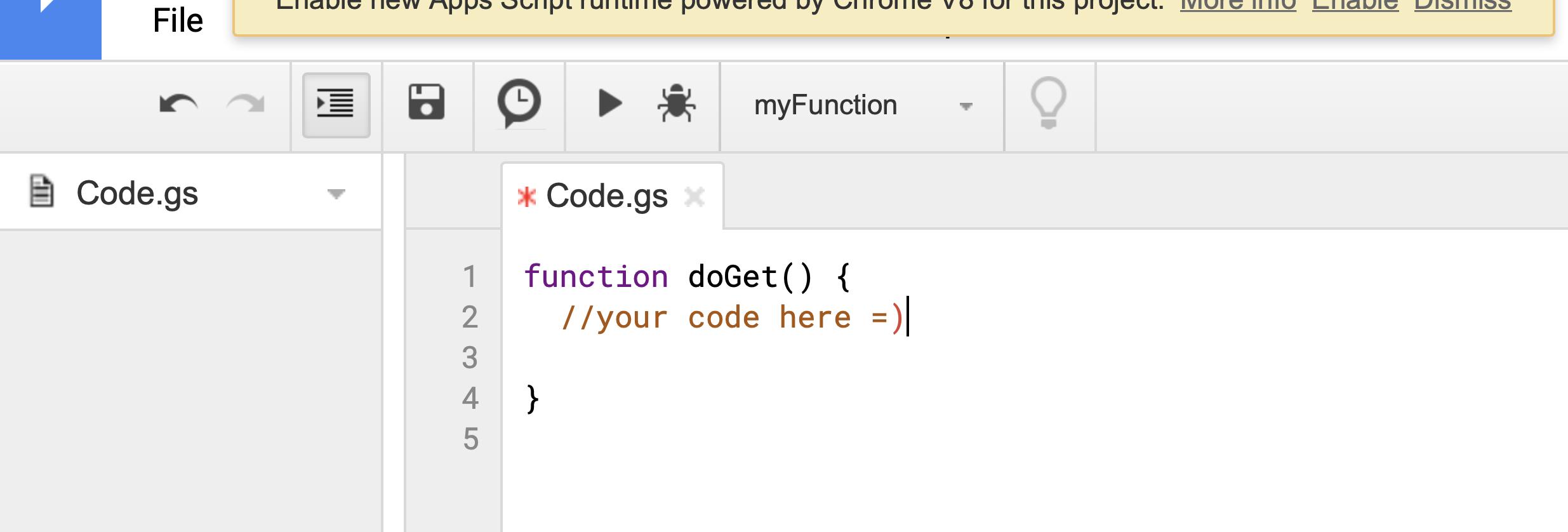 google sheet code editor sample