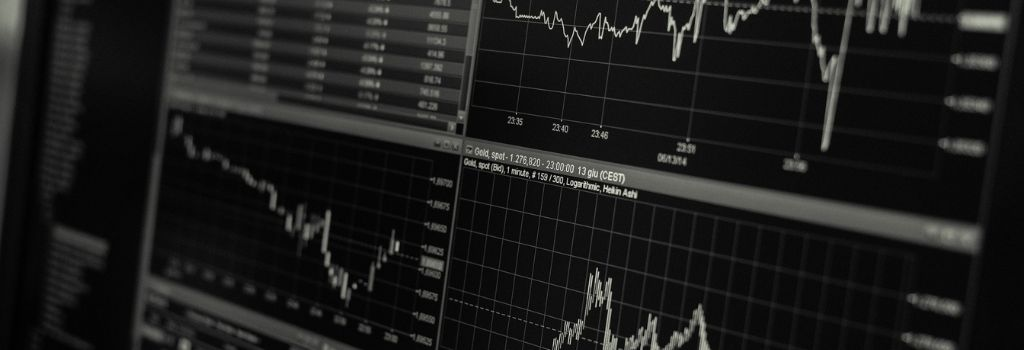 stock market graphs in black and white