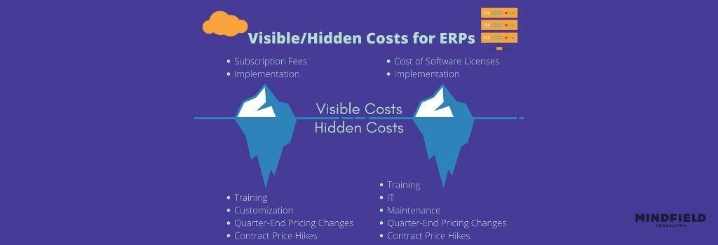 cost of erp infographic ice berg revealing hidden costs