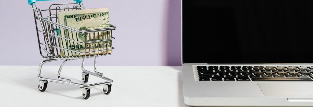 shopping card with dollar bills inside next to a computer